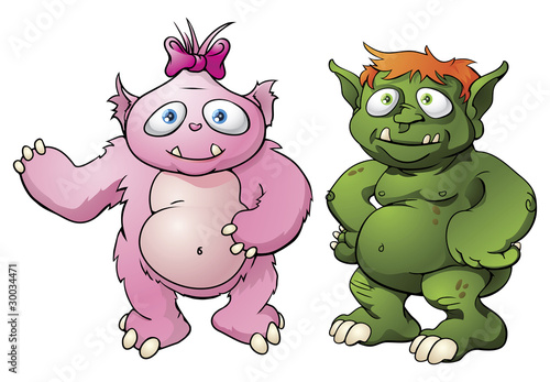 Foto op Aluminium Schepselen Cute monster cartoon characters