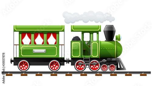 green retro locomotive with