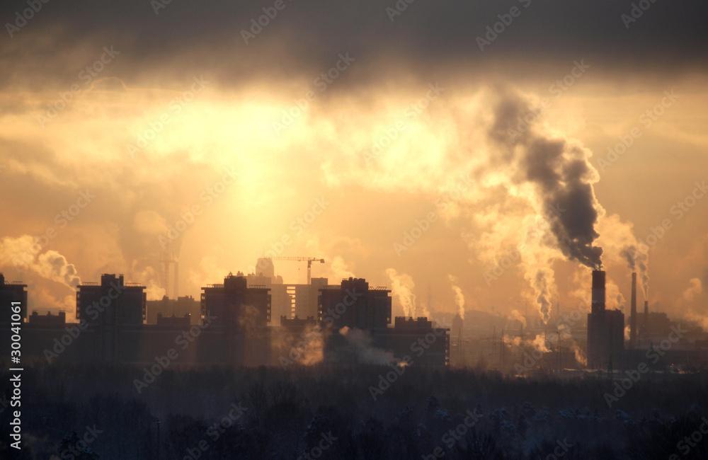 Fabryka o zachodzie słońca niebo <span>plik: #30041061 | autor: Николай Григорьев</span>