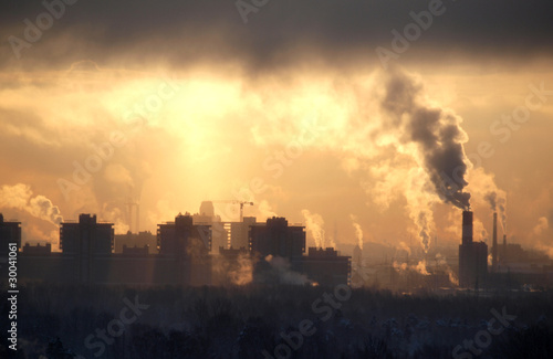 Fotomural Factory at sunset sky