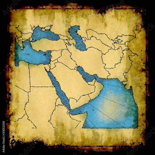 Garden Poster World Map Middle East old map