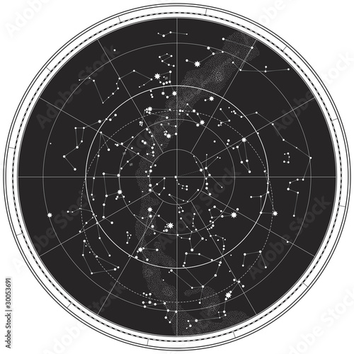 Celestial Map of The Night Sky Canvas Print