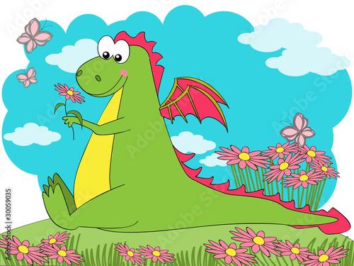 Tuinposter Dinosaurs Spring Dragon