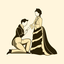 Classic Victorian One Knee Man Proposal