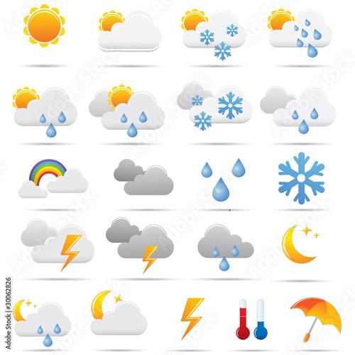 Fotomural Pictos météo pour le web. Picto weather