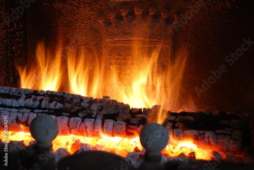 Fotografie, Obraz  feu de cheminee
