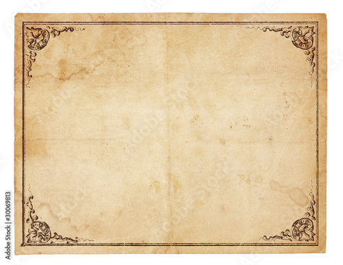 Poster Retro Blank Vintage Paper With Antique border