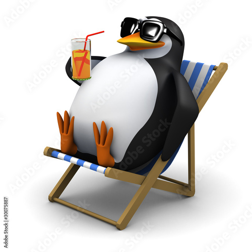 Fotografie, Obraz  3d Penguin relaxes in his deck chair with a cool glass