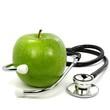 canvas print picture - Stethoskop mit Apfel