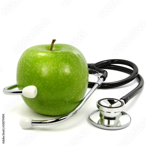 Fotografie, Obraz  Stethoskop mit Apfel