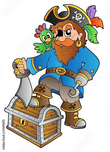 Foto op Canvas Piraten Pirate standing on treasure chest