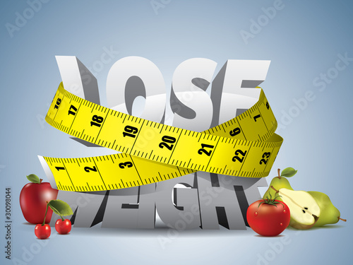 Fotografie, Obraz  Lose weight text with measure tape and fruits