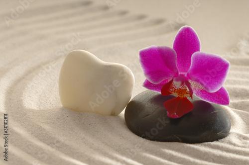 Foto op Plexiglas Stenen in het Zand Orchidee auf Stein mit Wassertropfen Sand und Herz