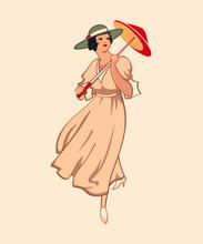 Art Nouveau Spring Fashion Girl With Umbrella