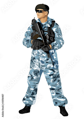 Poster Militaire The soldier holding a rifle. Highly detailed image.