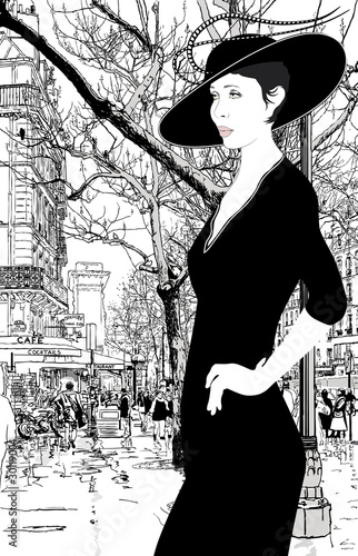 In de dag Geschilderd Parijs illustration of an elegant lady in Paris