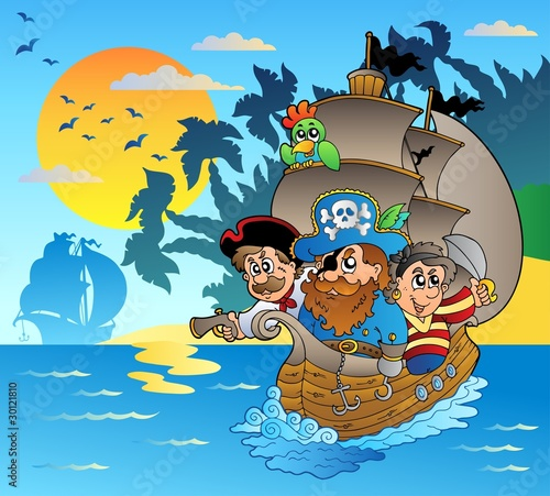 Poster de jardin Pirates Three pirates in boat near island