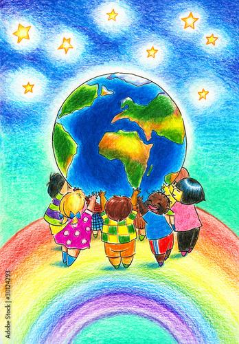 In de dag Regenboog Children and Earth