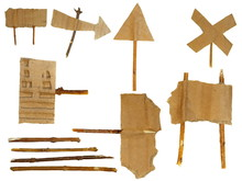 Cardboard Scraps Navigation Arrow Stickers Isolated