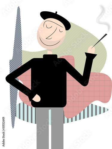 Happy Beatnik stands smoking abstract shapes backdrop Canvas Print