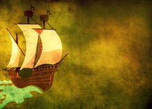 Boat On The Grunge Background