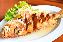 Fried Snapper Fish With Sauce.