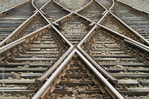 Foto auf Leinwand Eisenbahnschienen kreuzung und weichen