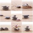 Leinwandbild Motiv Collage sable et galets zen