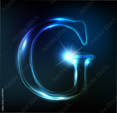 Glowing neon font. Shiny letter Canvas Print