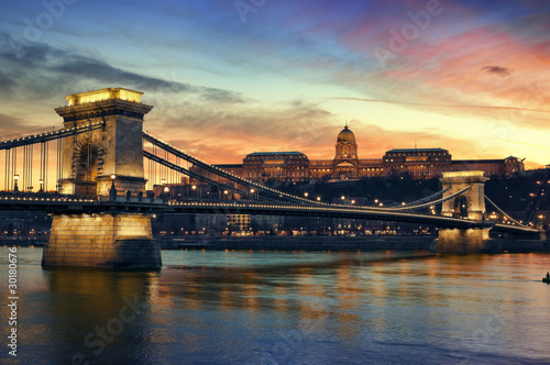 Budapest at sunset. Poster