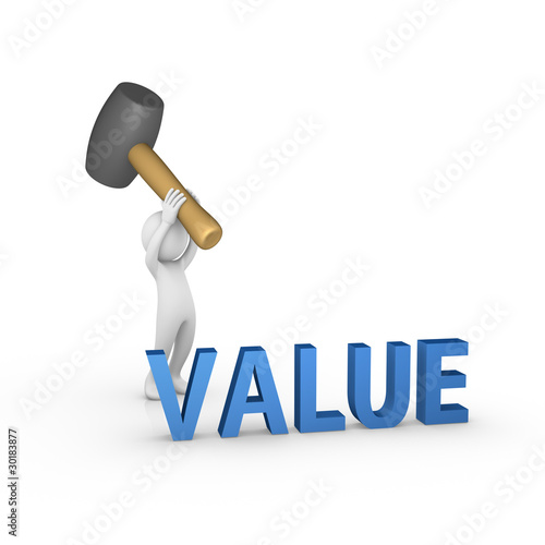 Smashing the word Value with a big rubber mallet Wall mural