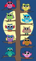 Plakat owls in a tree