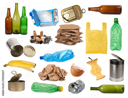 Fotografie, Obraz  Trash samples isolated on white