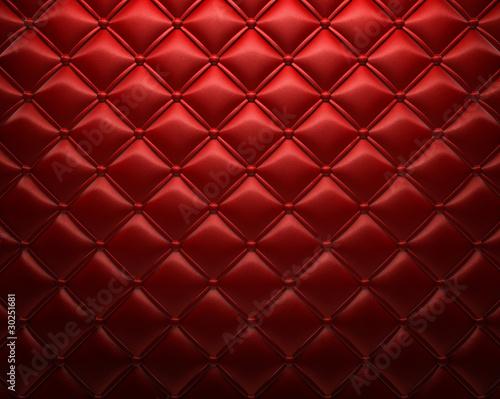 Deurstickers Leder Roter gepolsterter Leder Hintergrund