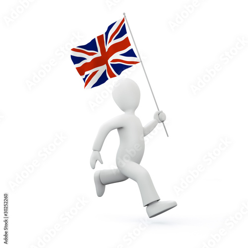 Photo  Illustration of a 3d man holding a flag of the united kingdom