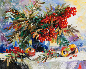 Fototapeta Do jadalni Still-life with a mountain ash and apples