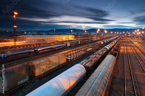 Cuadros en Lienzo Freight Station with trains