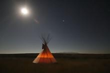 Native American Teepee At Night