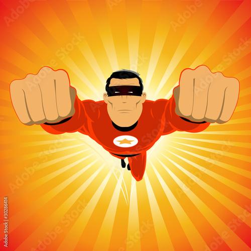 Comic-like Super-Hero Canvas Print