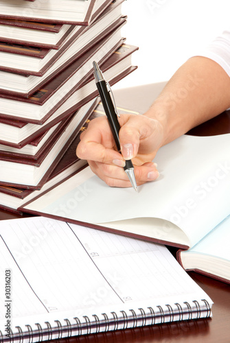 Poster Kranten person hand with pen signing book document