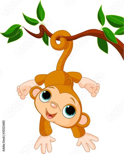 Printed kitchen splashbacks Fairytale World Baby monkey on a tree