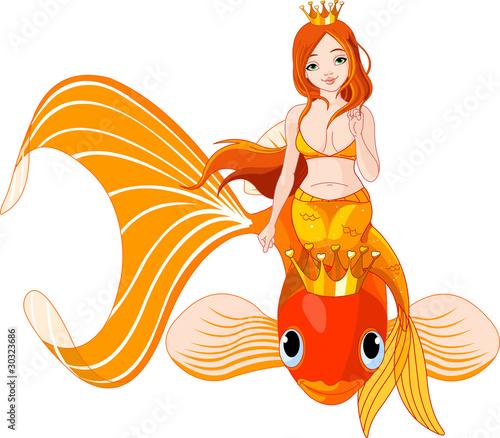 Wall Murals Mermaid Mermaid riding on a golden fish