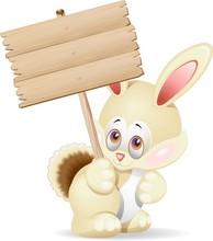 Coniglio Cartoon Con Pannello-Cartoon Rabbit With Panel-Vector