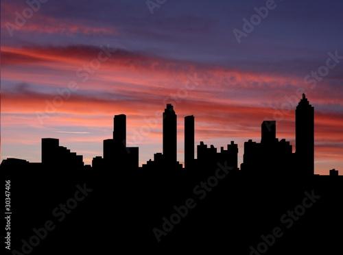Fototapety, obrazy: Atlanta skyline at sunset with beautiful sky illustration
