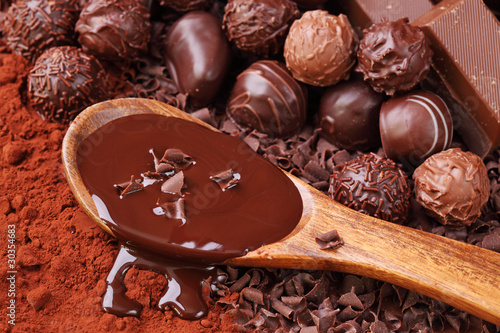 Spoed Foto op Canvas Chocolade Group of chocolate close up