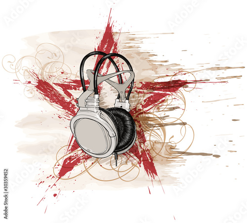 Foto auf AluDibond Aquarell Schädel headphones, red grunge star & floral calligraphy ornament, water