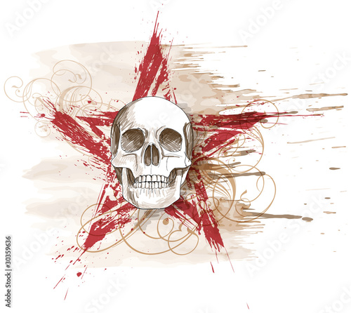 Poster Crâne aquarelle Skull sketch & red grunge star, floral calligraphy ornament, wat