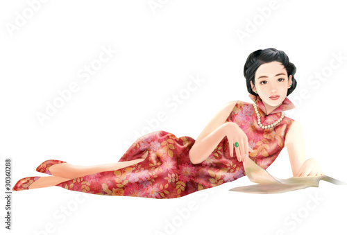 Hand drawing- chinese woman 025 Poster