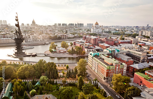 Foto op Canvas Moskou Aerial Moscow city panorama