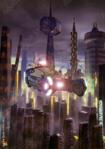 futuristic city and flying car Poster